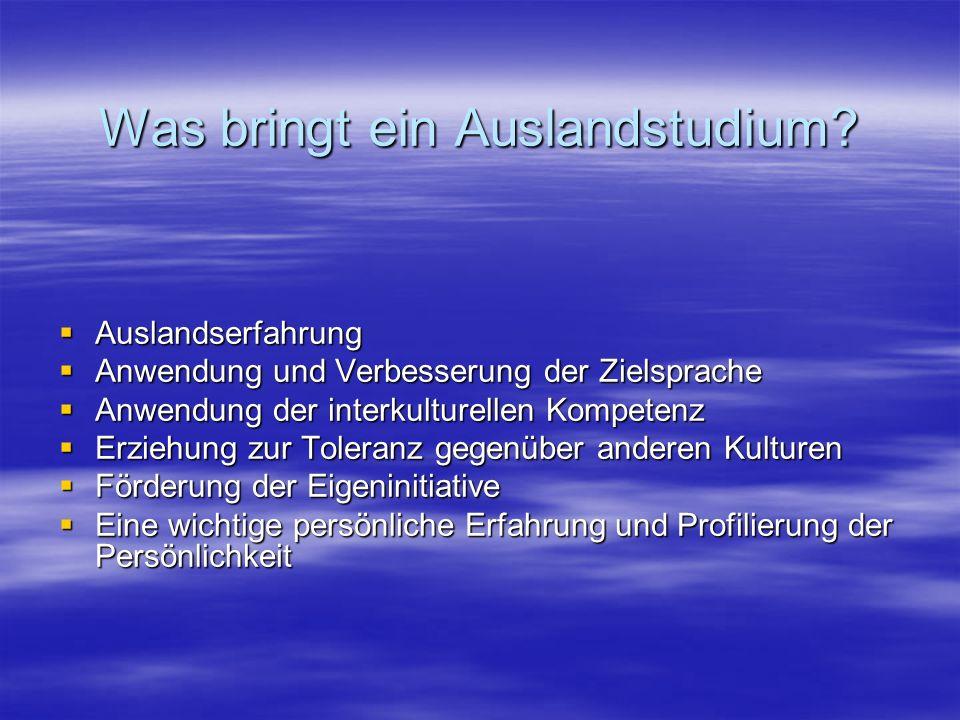 Finanzierung Gesetzliche Förderung im Rahmen des Auslands- BaföG Gesetzliche Förderung im Rahmen des Auslands- BaföG www.bafoeg.bmbf.de www.bafoeg.bmbf.dewww.bafoeg.bmbf.de www.studentenwerke.de www.studentenwerke.dewww.studentenwerke.de Zinsgünstiger Bildungskredit der Deutschen Ausgleichsbank www.bildungskredit.de Zinsgünstiger Bildungskredit der Deutschen Ausgleichsbank www.bildungskredit.dewww.bildungskredit.de www.stiftungsindex.de oder in verschiedenen Stiftungsführern verschiedener Organisationen (Stiftungen der Parteien, Kirchen, Fachverbände, etc.).