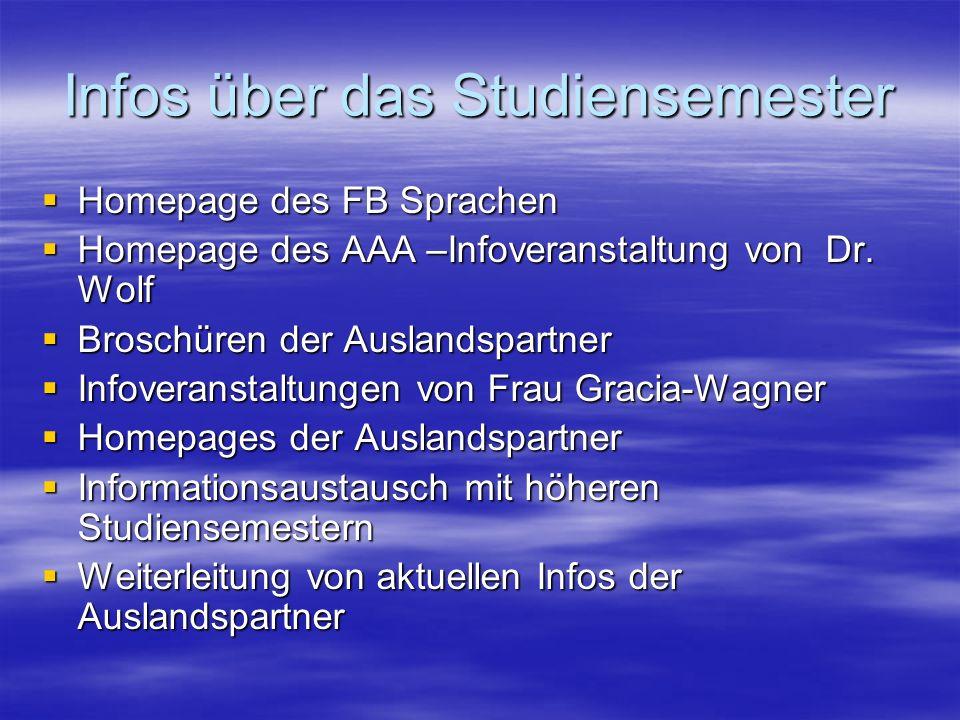 Infos über das Studiensemester Homepage des FB Sprachen Homepage des FB Sprachen Homepage des AAA –Infoveranstaltung von Dr. Wolf Homepage des AAA –In