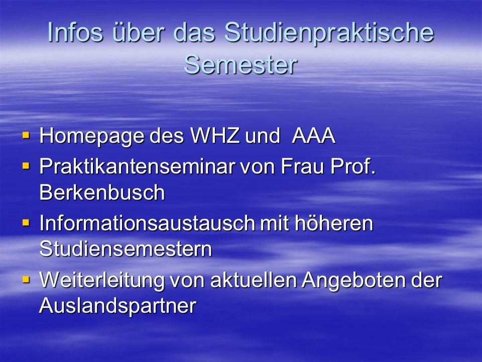 Infos über das Studienpraktische Semester Homepage des WHZ und AAA Homepage des WHZ und AAA Praktikantenseminar von Frau Prof. Berkenbusch Praktikante