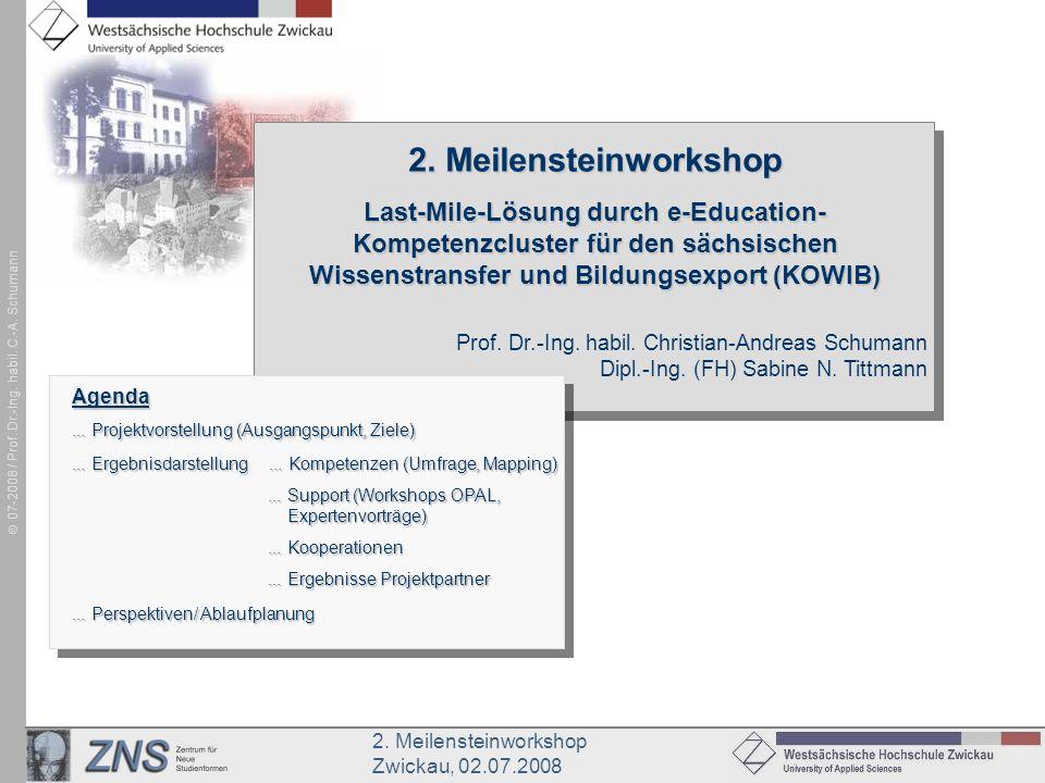 2. Meilensteinworkshop Zwickau, 02.07.2008 07-2008 / Prof. Dr.-Ing. habil. C.-A. Schumann Prof. Dr.-Ing. habil. Christian-Andreas Schumann Dipl.-Ing.