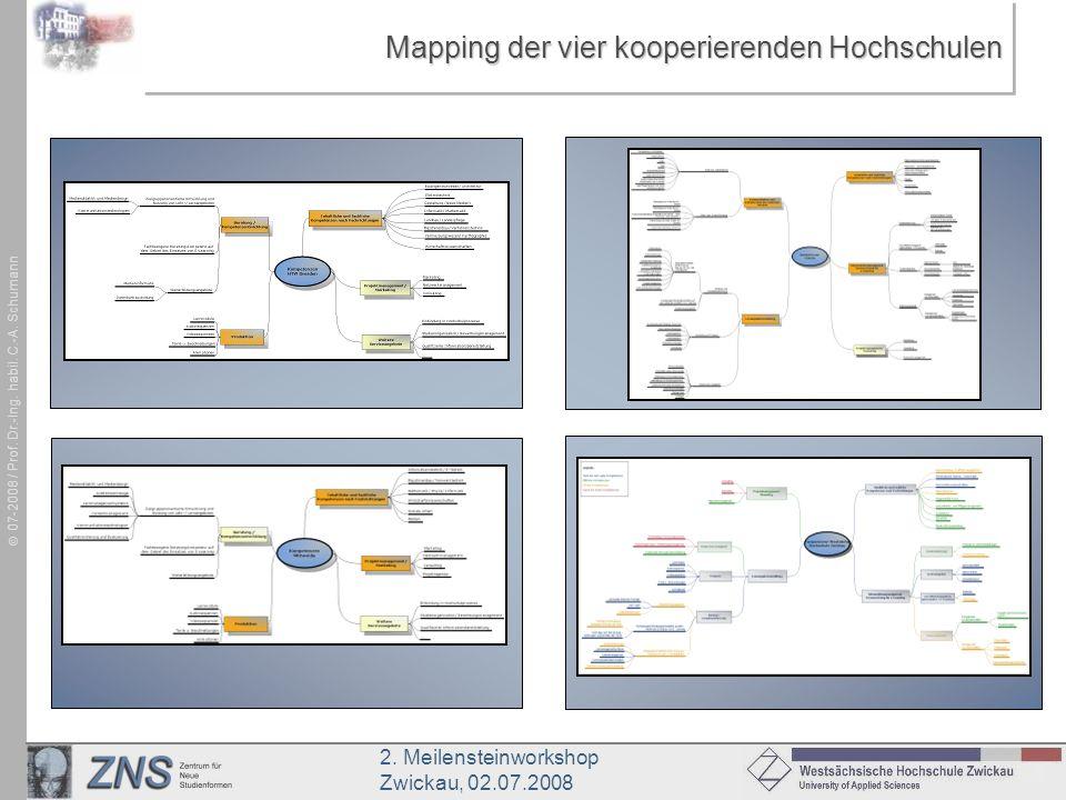 2. Meilensteinworkshop Zwickau, 02.07.2008 07-2008 / Prof. Dr.-Ing. habil. C.-A. Schumann Mapping der vier kooperierenden Hochschulen