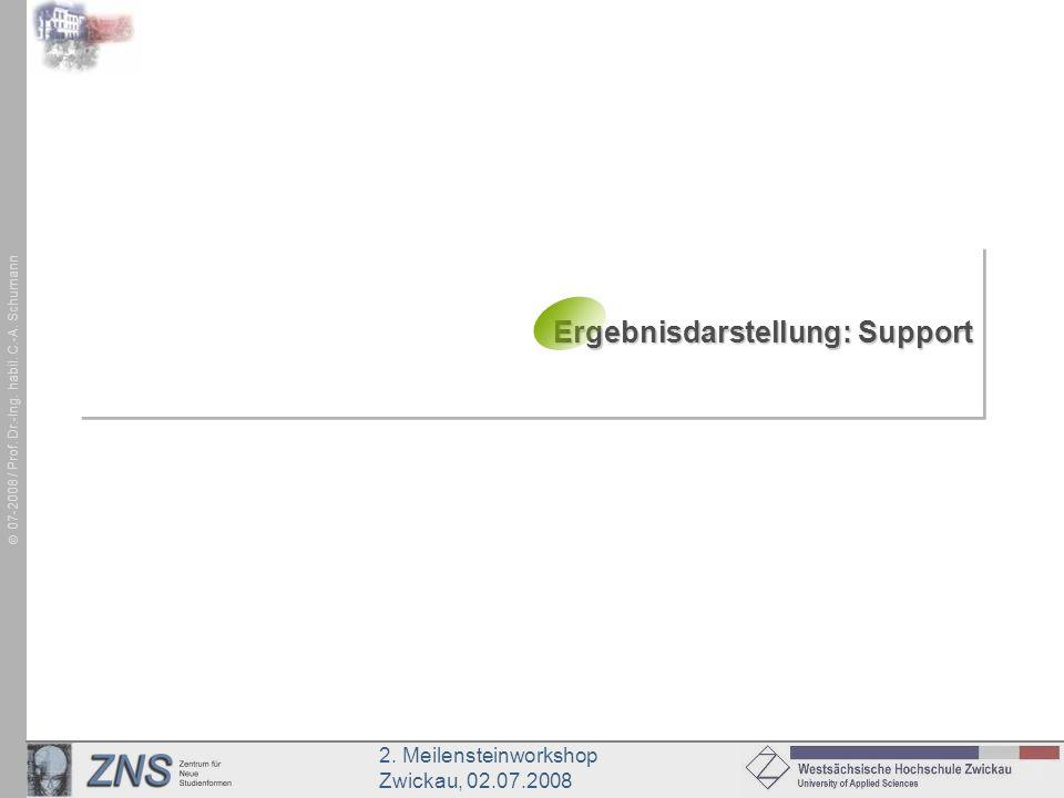2. Meilensteinworkshop Zwickau, 02.07.2008 07-2008 / Prof. Dr.-Ing. habil. C.-A. Schumann Ergebnisdarstellung: Support