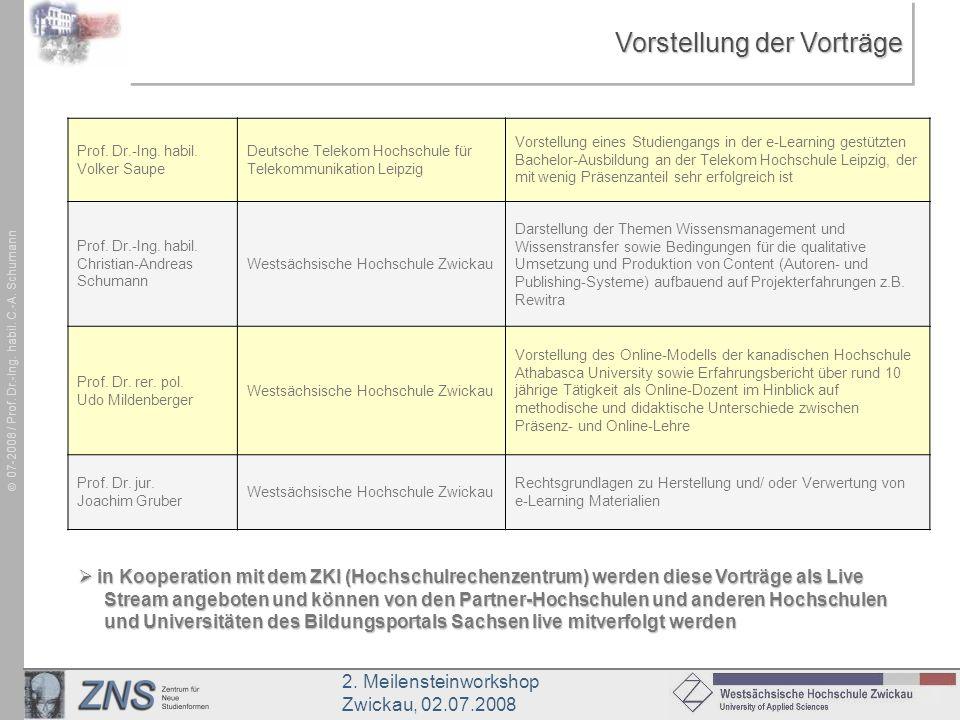 2. Meilensteinworkshop Zwickau, 02.07.2008 07-2008 / Prof. Dr.-Ing. habil. C.-A. Schumann Vorstellung der Vorträge Prof. Dr.-Ing. habil. Volker Saupe