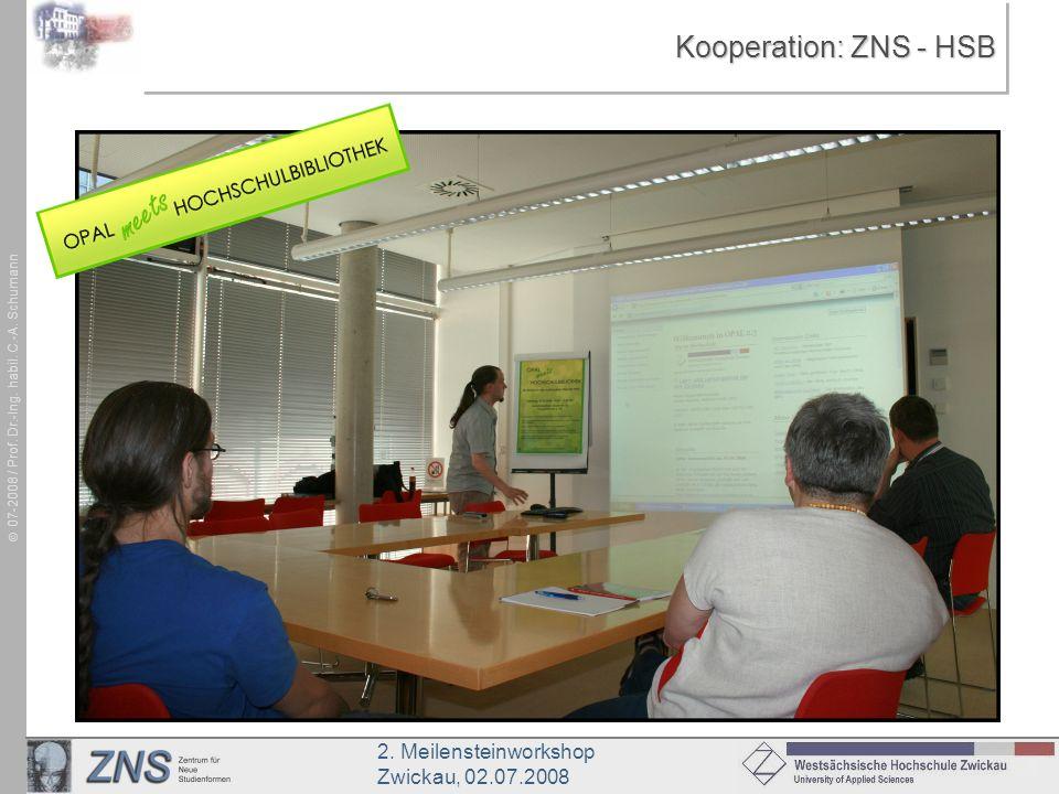 2. Meilensteinworkshop Zwickau, 02.07.2008 07-2008 / Prof. Dr.-Ing. habil. C.-A. Schumann Kooperation: ZNS - HSB