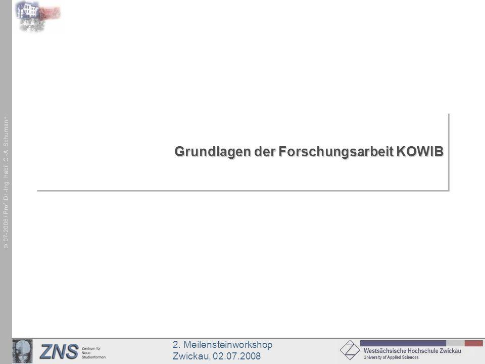 2. Meilensteinworkshop Zwickau, 02.07.2008 07-2008 / Prof. Dr.-Ing. habil. C.-A. Schumann Grundlagen der Forschungsarbeit KOWIB
