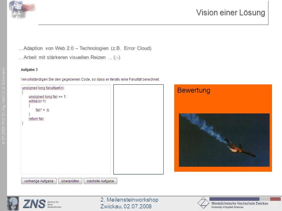 2. Meilensteinworkshop Zwickau, 02.07.2008 07-2008 / Prof. Dr.-Ing. habil. C.-A. Schumann Vision einer Lösung... Adaption von Web 2.0 – Technologien (