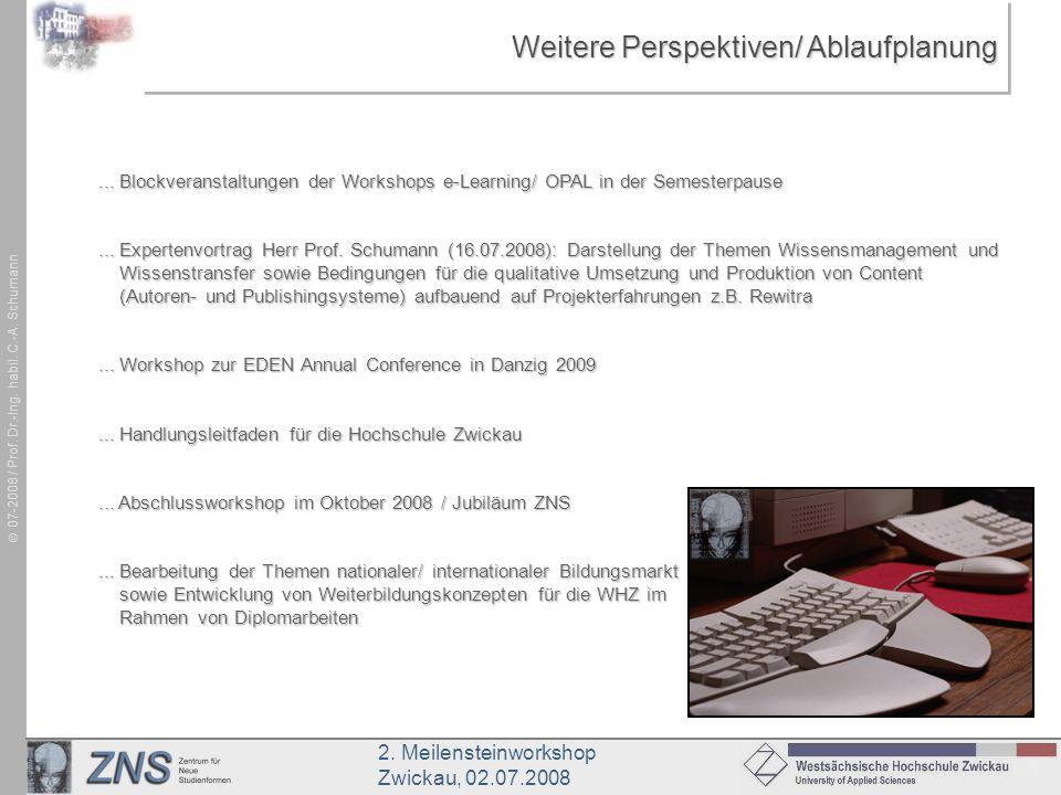 2. Meilensteinworkshop Zwickau, 02.07.2008 07-2008 / Prof. Dr.-Ing. habil. C.-A. Schumann Weitere Perspektiven/ Ablaufplanung... Blockveranstaltungen
