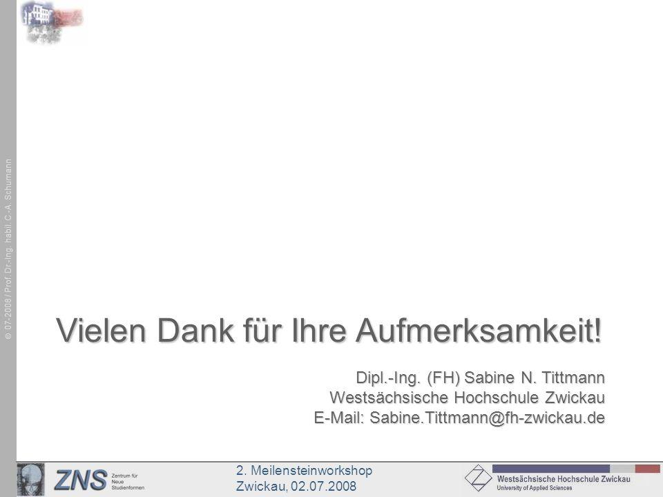 2. Meilensteinworkshop Zwickau, 02.07.2008 07-2008 / Prof. Dr.-Ing. habil. C.-A. Schumann Dipl.-Ing. (FH) Sabine N. Tittmann Westsächsische Hochschule