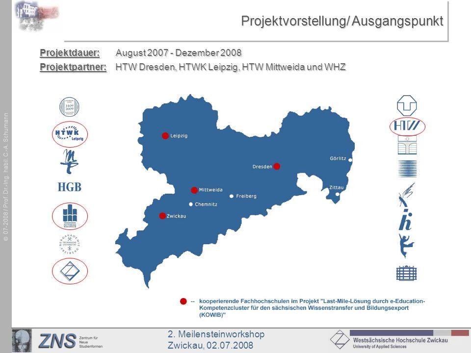 2. Meilensteinworkshop Zwickau, 02.07.2008 07-2008 / Prof. Dr.-Ing. habil. C.-A. Schumann Projektvorstellung/ Ausgangspunkt Projektdauer: August 2007