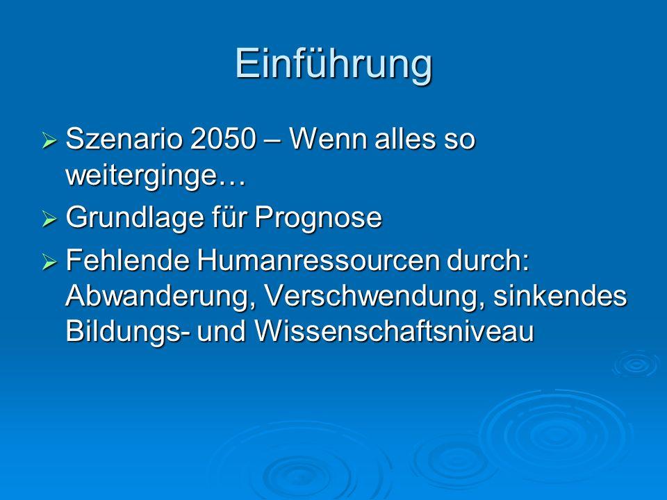 Einführung Szenario 2050 – Wenn alles so weiterginge… Szenario 2050 – Wenn alles so weiterginge… Grundlage für Prognose Grundlage für Prognose Fehlend