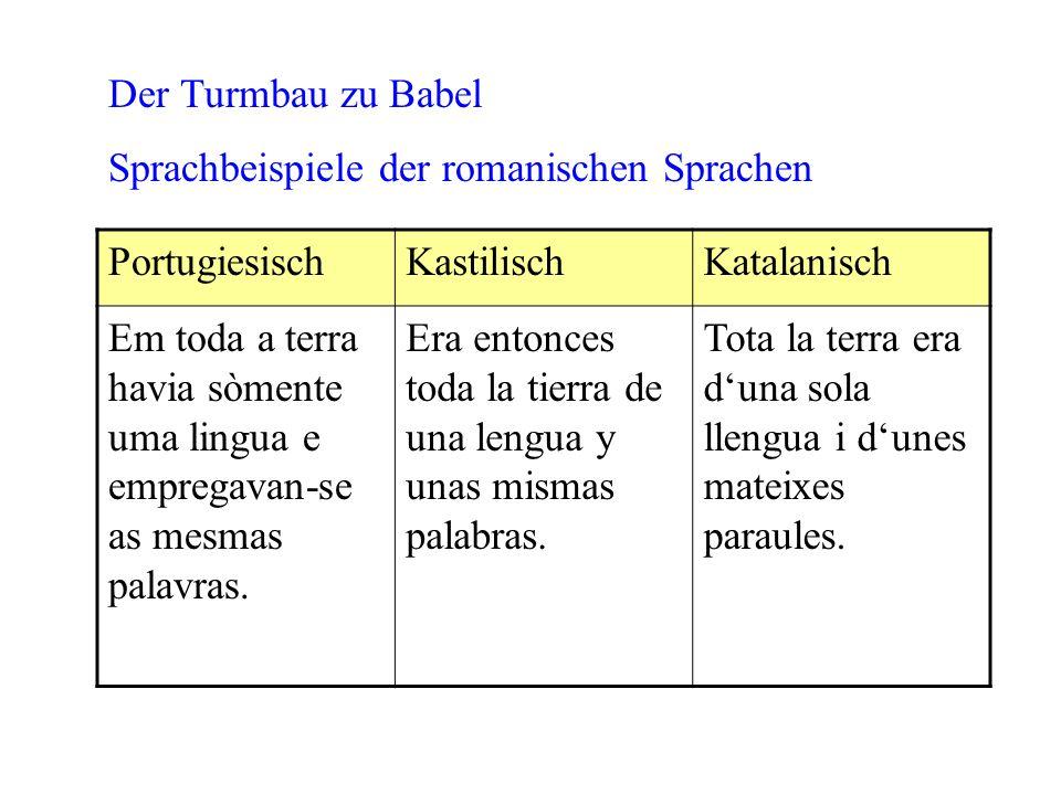 PortugiesischKastilischKatalanisch Em toda a terra havia sòmente uma lingua e empregavan-se as mesmas palavras. Era entonces toda la tierra de una len