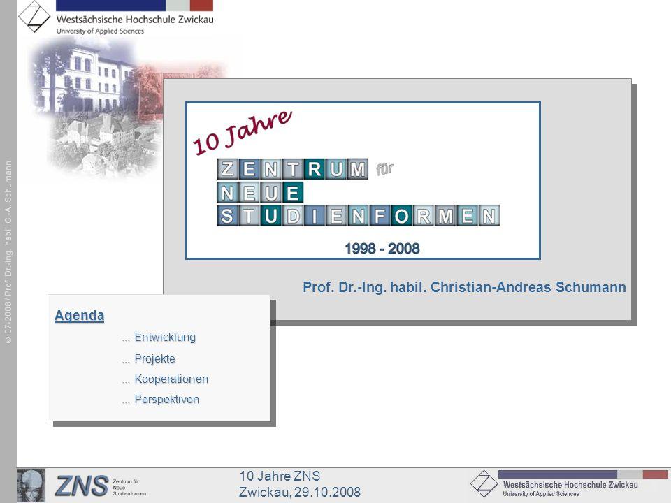 10 Jahre ZNS Zwickau, 29.10.2008 07-2008 / Prof. Dr.-Ing. habil. C.-A. Schumann Prof. Dr.-Ing. habil. Christian-Andreas Schumann 10 Jahre ZNS Agenda..
