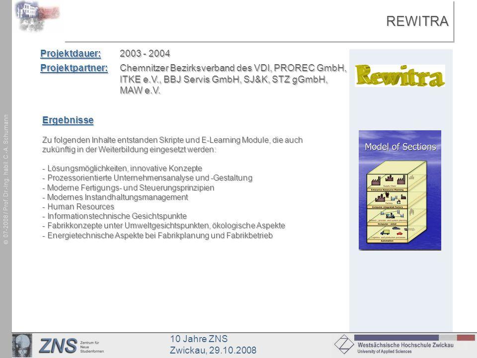 10 Jahre ZNS Zwickau, 29.10.2008 07-2008 / Prof. Dr.-Ing. habil. C.-A. SchumannREWITRAREWITRA Projektdauer:2003 - 2004 Projektpartner:Chemnitzer Bezir