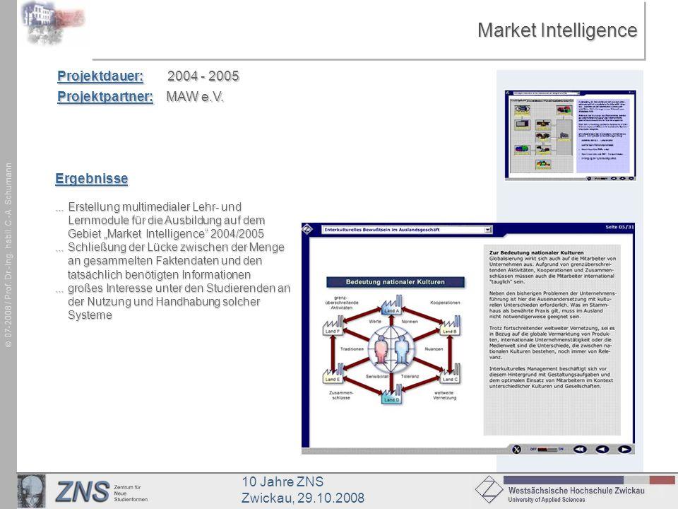 10 Jahre ZNS Zwickau, 29.10.2008 07-2008 / Prof. Dr.-Ing. habil. C.-A. Schumann Market Intelligence Projektdauer: 2004 - 2005 Projektpartner: MAW e.V.