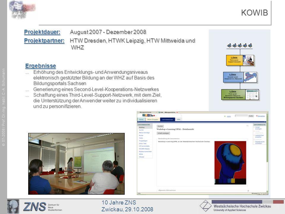 10 Jahre ZNS Zwickau, 29.10.2008 07-2008 / Prof. Dr.-Ing. habil. C.-A. SchumannKOWIBKOWIB Projektdauer: August 2007 - Dezember 2008 Projektpartner: HT