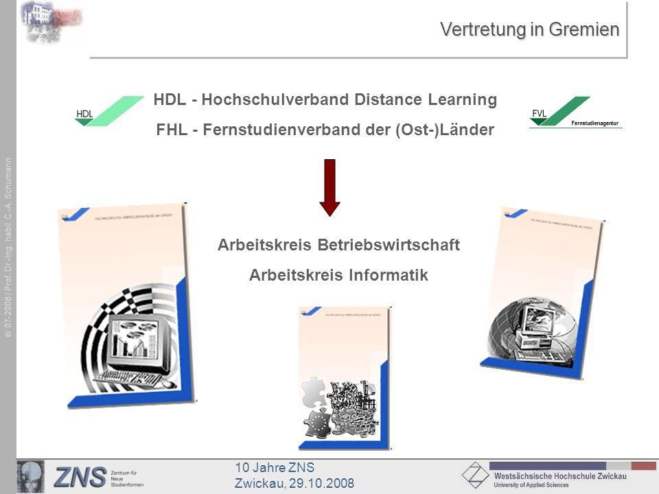 10 Jahre ZNS Zwickau, 29.10.2008 07-2008 / Prof. Dr.-Ing. habil. C.-A. Schumann Vertretung in Gremien HDL - Hochschulverband Distance Learning FHL - F