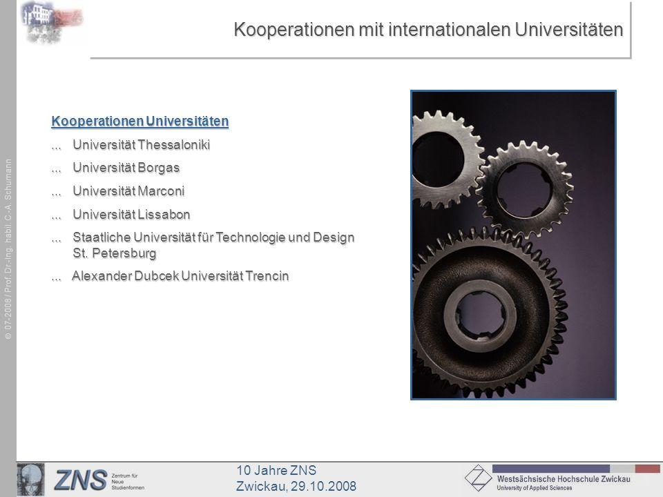 10 Jahre ZNS Zwickau, 29.10.2008 07-2008 / Prof. Dr.-Ing. habil. C.-A. Schumann Kooperationen mit internationalen Universitäten Kooperationen Universi