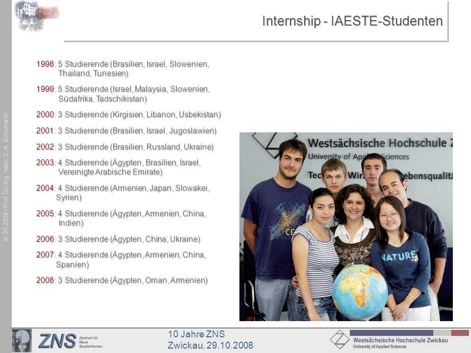 10 Jahre ZNS Zwickau, 29.10.2008 07-2008 / Prof. Dr.-Ing. habil. C.-A. Schumann Internship - IAESTE-Studenten 1998: 5 Studierende (Brasilien, Israel,