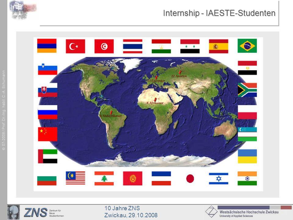 10 Jahre ZNS Zwickau, 29.10.2008 07-2008 / Prof. Dr.-Ing. habil. C.-A. Schumann Internship - IAESTE-Studenten