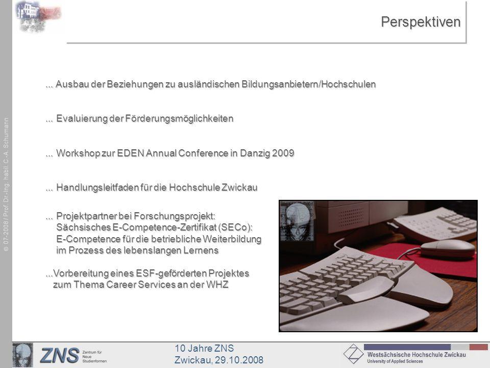 10 Jahre ZNS Zwickau, 29.10.2008 07-2008 / Prof. Dr.-Ing. habil. C.-A. SchumannPerspektivenPerspektiven... Ausbau der Beziehungen zu ausländischen Bil