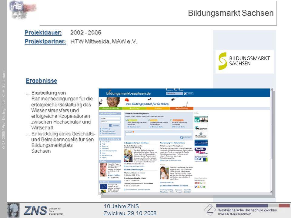 10 Jahre ZNS Zwickau, 29.10.2008 07-2008 / Prof. Dr.-Ing. habil. C.-A. Schumann Bildungsmarkt Sachsen Projektdauer:2002 - 2005 Projektpartner:HTW Mitt