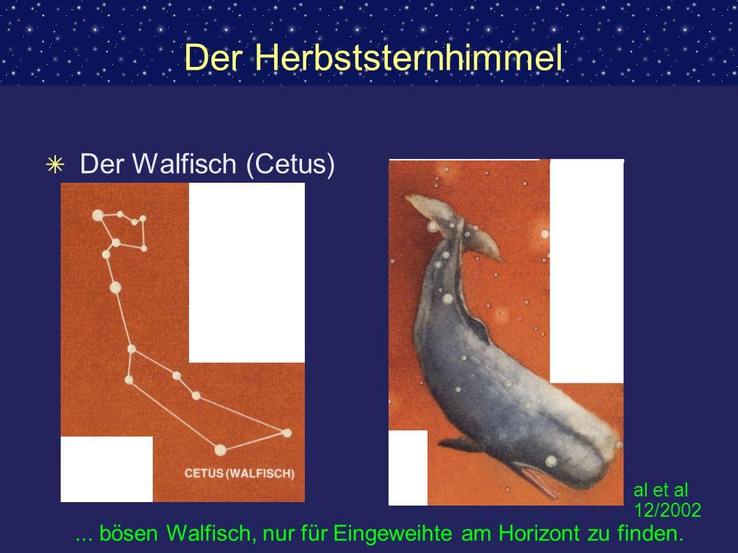 Der Herbststernhimmel Der Walfisch (Cetus)... bösen Walfisch, nur für Eingeweihte am Horizont zu finden. al et al 12/2002
