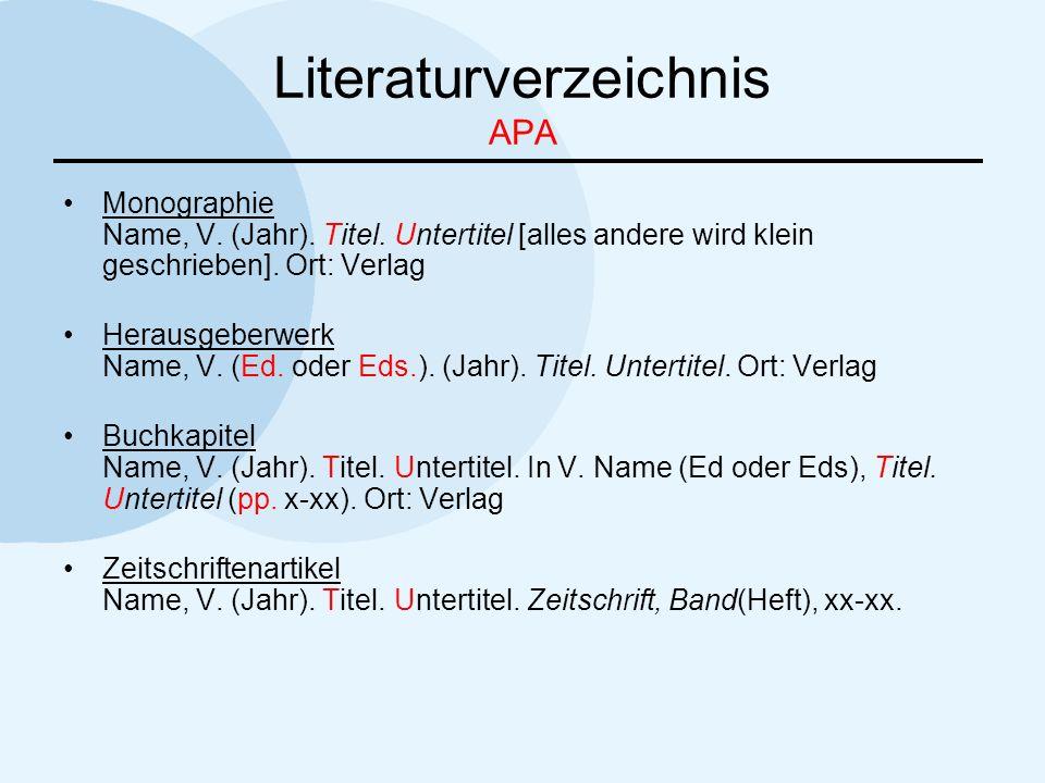 Literaturverzeichnis APA Monographie Name, V. (Jahr). Titel. Untertitel [alles andere wird klein geschrieben]. Ort: Verlag Herausgeberwerk Name, V. (E