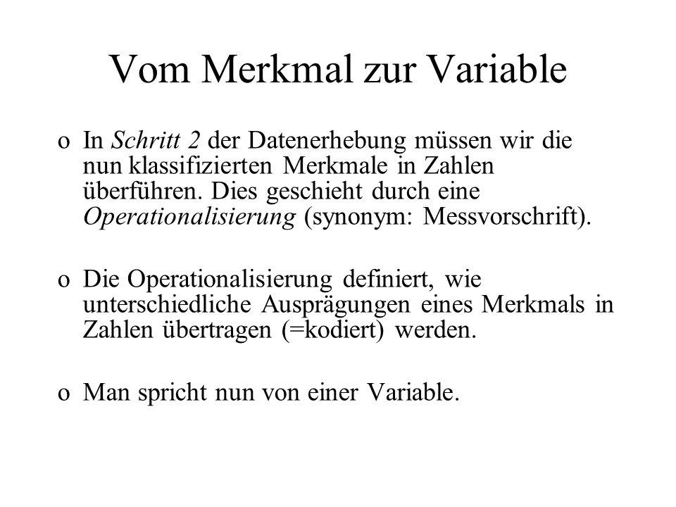 Vom Merkmal zur Variable oIn Schritt 2 der Datenerhebung müssen wir die nun klassifizierten Merkmale in Zahlen überführen. Dies geschieht durch eine O