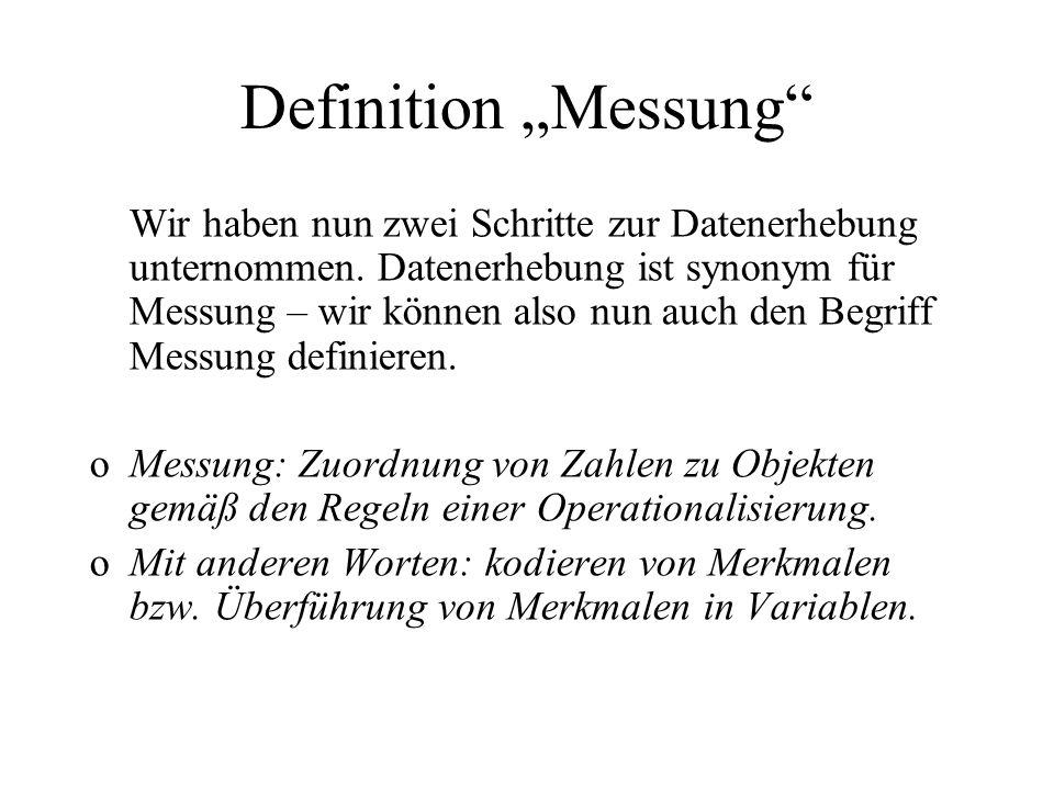Definition Messung Wir haben nun zwei Schritte zur Datenerhebung unternommen. Datenerhebung ist synonym für Messung – wir können also nun auch den Beg