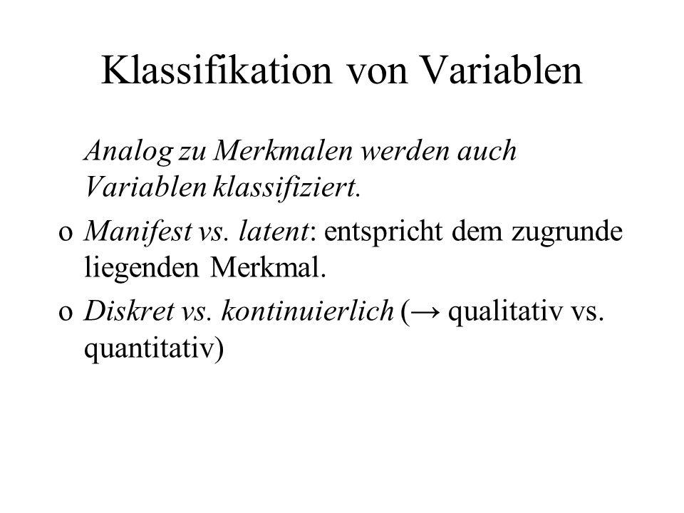 Klassifikation von Variablen Analog zu Merkmalen werden auch Variablen klassifiziert. oManifest vs. latent: entspricht dem zugrunde liegenden Merkmal.