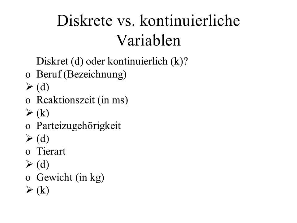 Diskret (d) oder kontinuierlich (k)? oBeruf (Bezeichnung) (d) oReaktionszeit (in ms) (k) oParteizugehörigkeit (d) oTierart (d) oGewicht (in kg) (k) Di