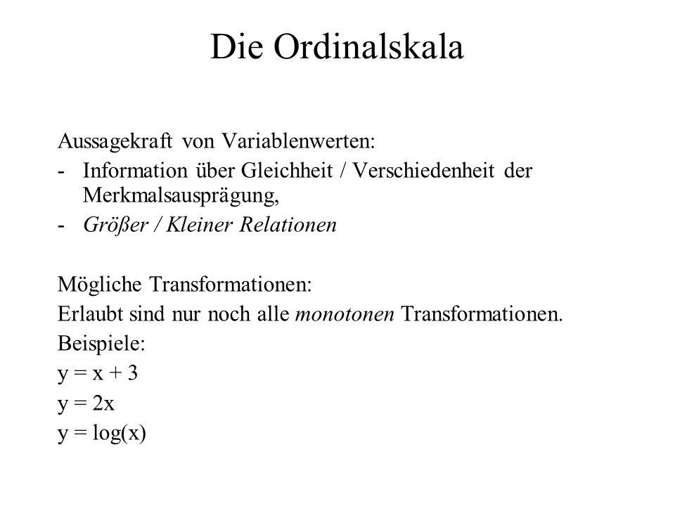 Die Ordinalskala Aussagekraft von Variablenwerten: -Information über Gleichheit / Verschiedenheit der Merkmalsausprägung, -Größer / Kleiner Relationen