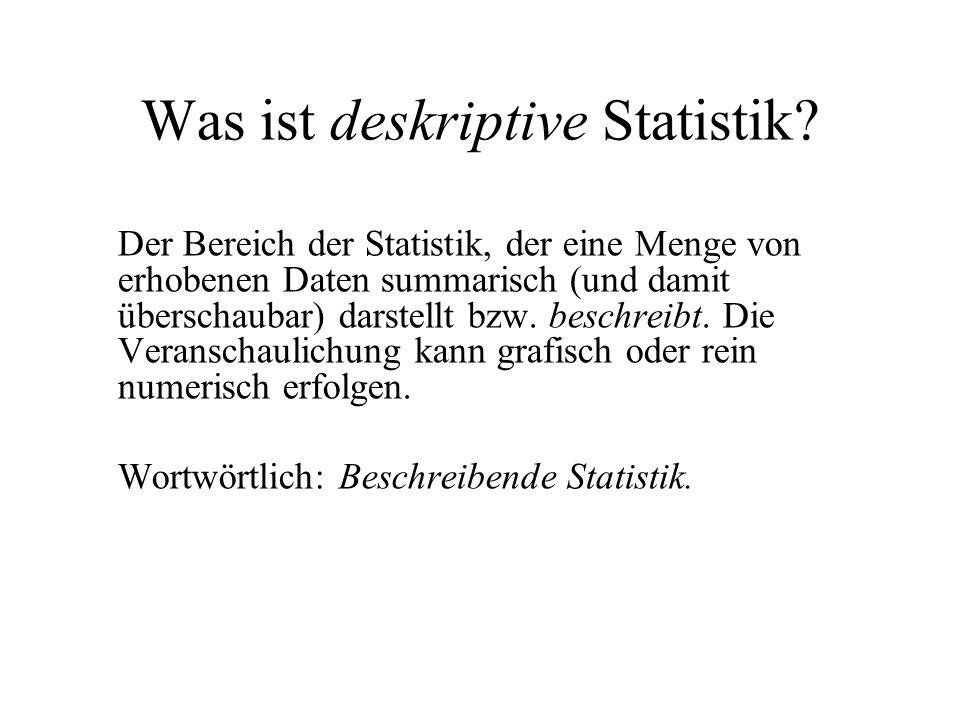 Was ist deskriptive Statistik? Der Bereich der Statistik, der eine Menge von erhobenen Daten summarisch (und damit überschaubar) darstellt bzw. beschr