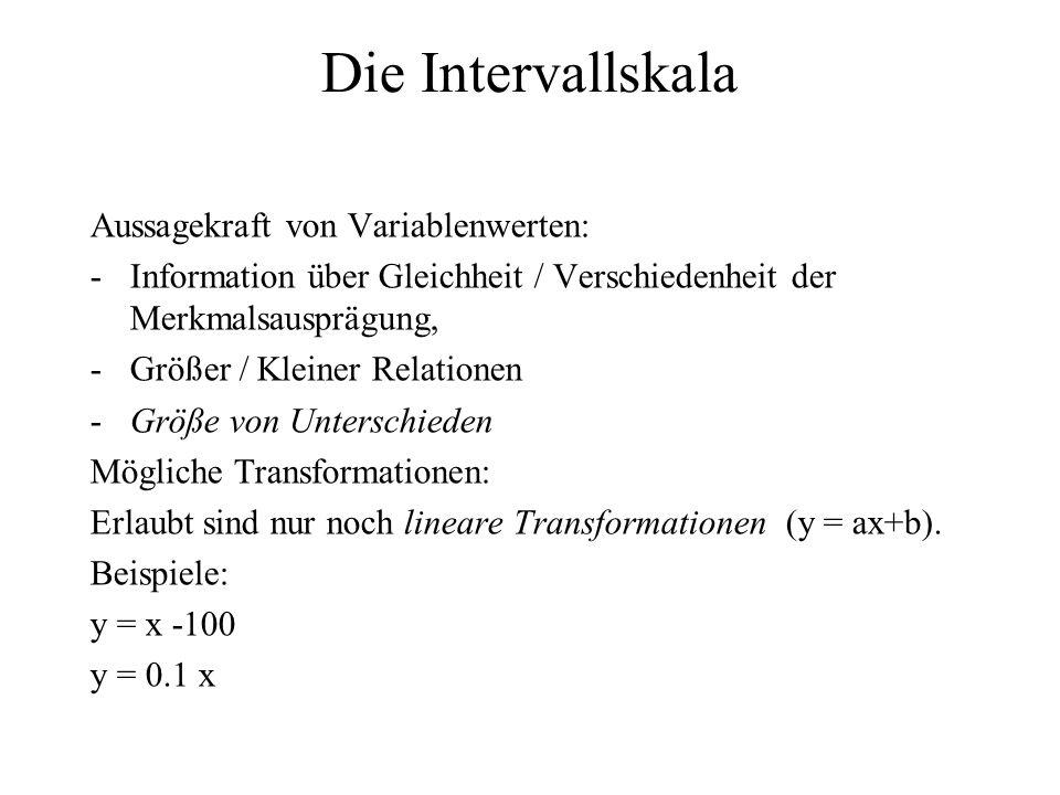 Die Intervallskala Aussagekraft von Variablenwerten: -Information über Gleichheit / Verschiedenheit der Merkmalsausprägung, -Größer / Kleiner Relation