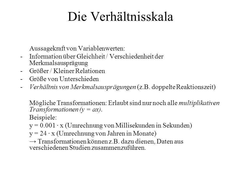 Die Verhältnisskala Aussagekraft von Variablenwerten: -Information über Gleichheit / Verschiedenheit der Merkmalsausprägung -Größer / Kleiner Relation