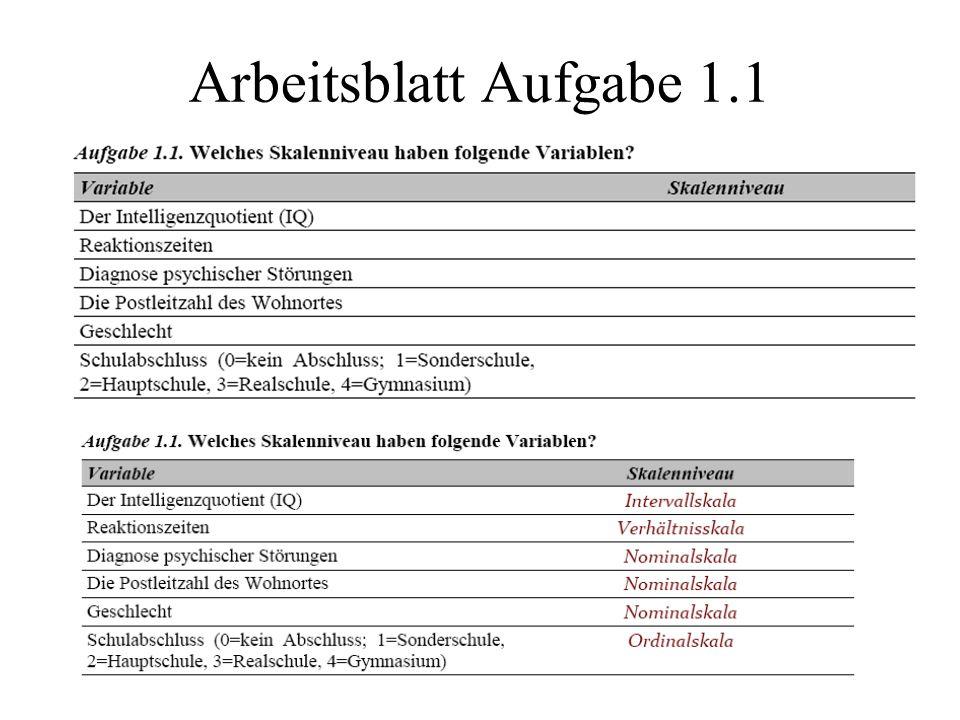 Arbeitsblatt Aufgabe 1.1