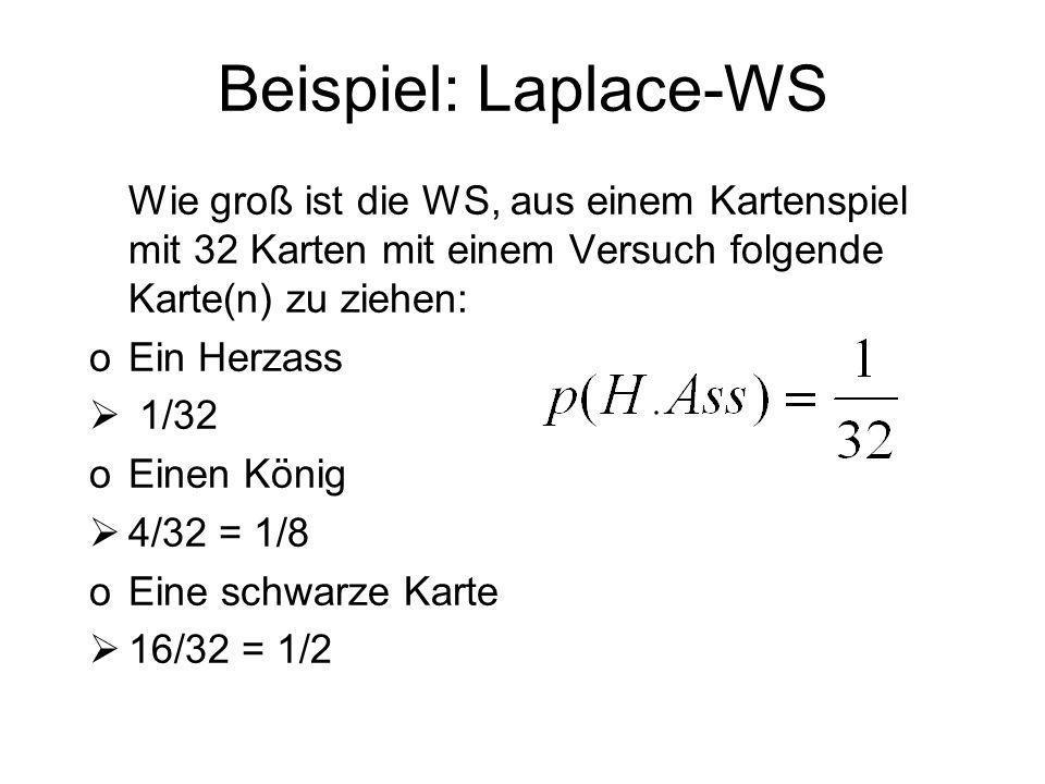 Beispiel: Laplace-WS Wie groß ist die WS, aus einem Kartenspiel mit 32 Karten mit einem Versuch folgende Karte(n) zu ziehen: oEin Herzass 1/32 oEinen