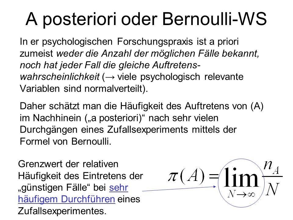 A posteriori oder Bernoulli-WS In er psychologischen Forschungspraxis ist a priori zumeist weder die Anzahl der möglichen Fälle bekannt, noch hat jede