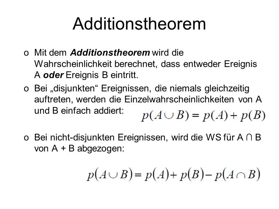 Additionstheorem oMit dem Additionstheorem wird die Wahrscheinlichkeit berechnet, dass entweder Ereignis A oder Ereignis B eintritt. oBei disjunkten E
