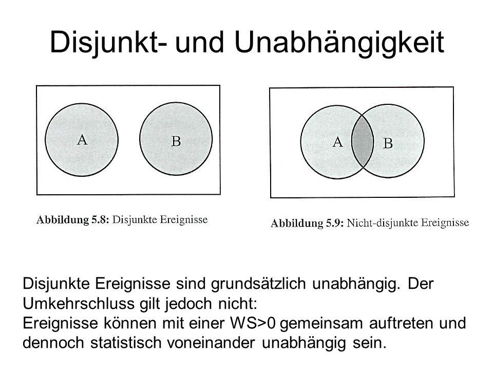 Disjunkt- und Unabhängigkeit Disjunkte Ereignisse sind grundsätzlich unabhängig. Der Umkehrschluss gilt jedoch nicht: Ereignisse können mit einer WS>0