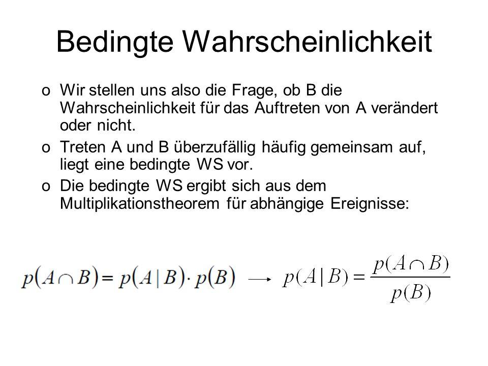 Bedingte Wahrscheinlichkeit oWir stellen uns also die Frage, ob B die Wahrscheinlichkeit für das Auftreten von A verändert oder nicht. oTreten A und B