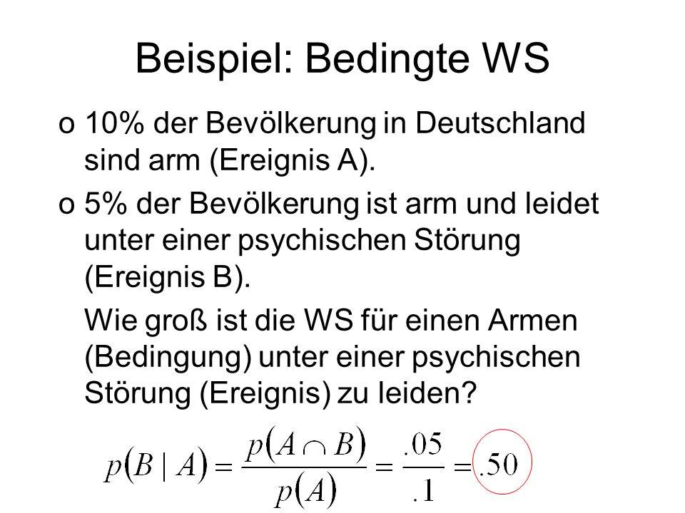 Beispiel: Bedingte WS o10% der Bevölkerung in Deutschland sind arm (Ereignis A). o5% der Bevölkerung ist arm und leidet unter einer psychischen Störun