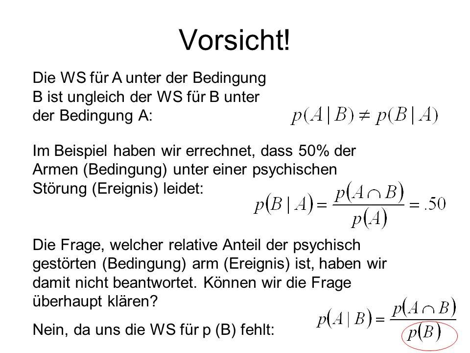 Vorsicht! Die WS für A unter der Bedingung B ist ungleich der WS für B unter der Bedingung A: Im Beispiel haben wir errechnet, dass 50% der Armen (Bed