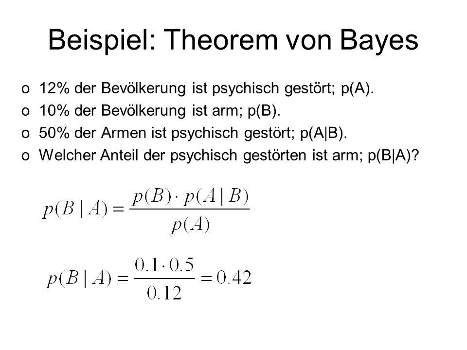 Beispiel: Theorem von Bayes o12% der Bevölkerung ist psychisch gestört; p(A). o10% der Bevölkerung ist arm; p(B). o50% der Armen ist psychisch gestört