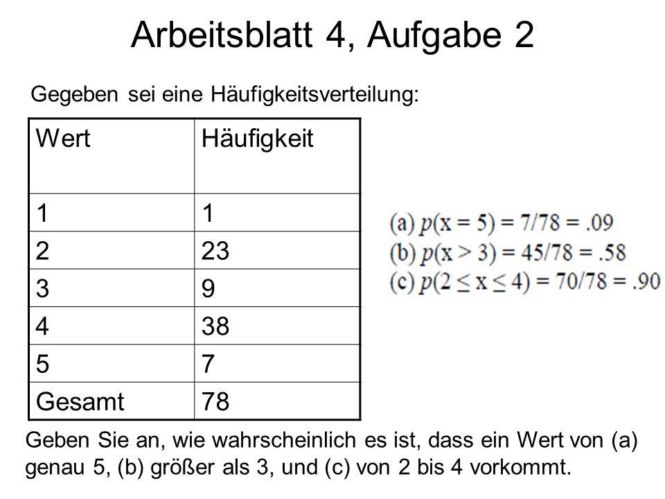 WertHäufigkeit 11 223 39 438 57 Gesamt78 Geben Sie an, wie wahrscheinlich es ist, dass ein Wert von (a) genau 5, (b) größer als 3, und (c) von 2 bis 4