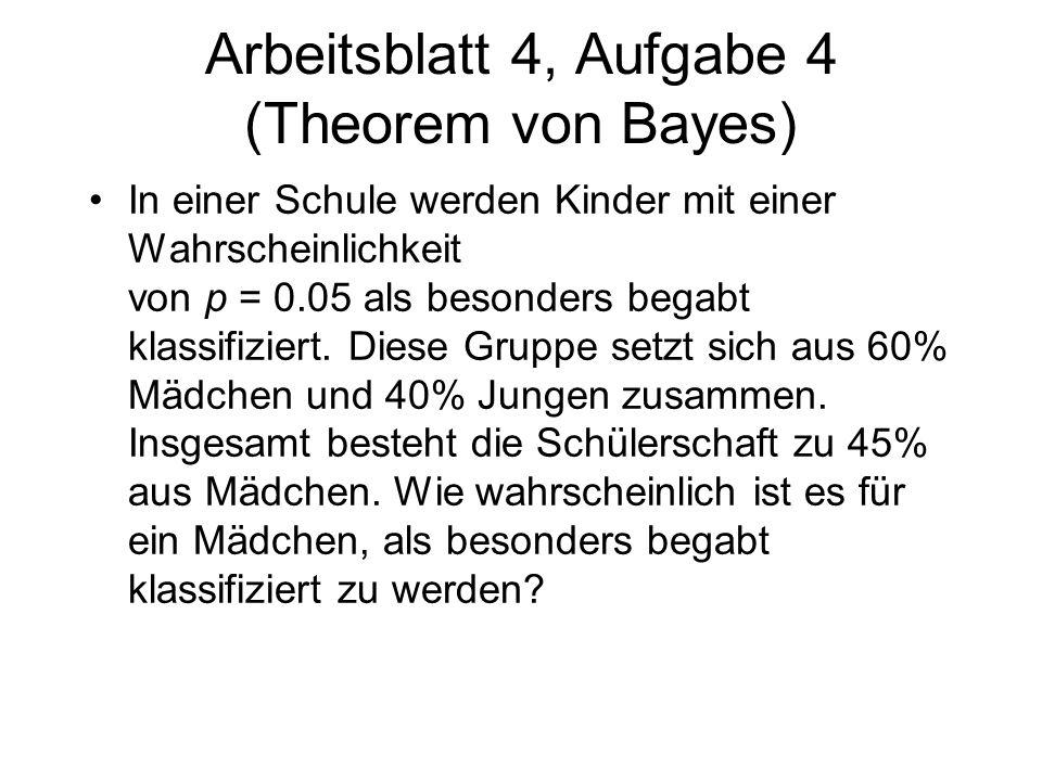 Arbeitsblatt 4, Aufgabe 4 (Theorem von Bayes) In einer Schule werden Kinder mit einer Wahrscheinlichkeit von p = 0.05 als besonders begabt klassifizie