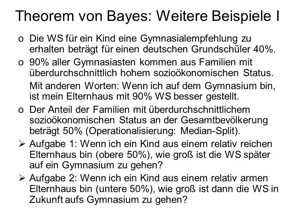 Theorem von Bayes: Weitere Beispiele I oDie WS für ein Kind eine Gymnasialempfehlung zu erhalten beträgt für einen deutschen Grundschüler 40%. o90% al