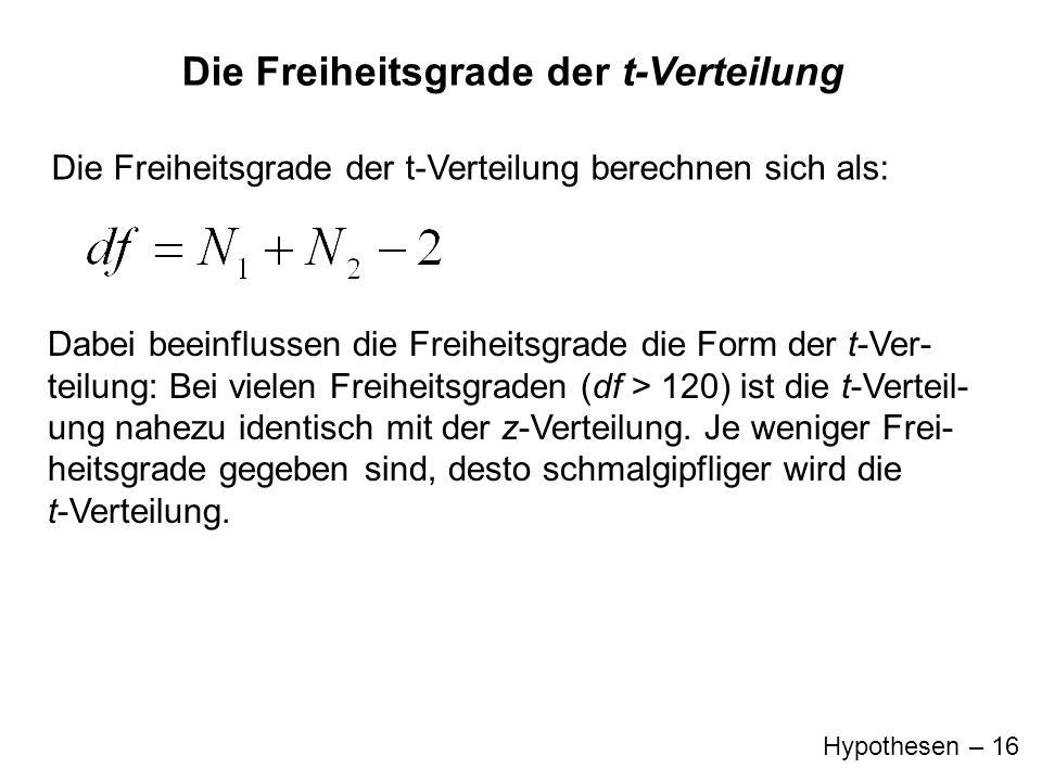 Hypothesen – 16 Die Freiheitsgrade der t-Verteilung Die Freiheitsgrade der t-Verteilung berechnen sich als: Dabei beeinflussen die Freiheitsgrade die