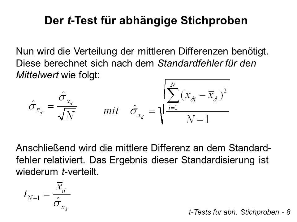 Der t-Test für abhängige Stichproben Nun wird die Verteilung der mittleren Differenzen benötigt. Diese berechnet sich nach dem Standardfehler für den