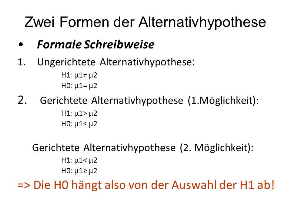 Zwei Formen der Alternativhypothese Formale Schreibweise 1.Ungerichtete Alternativhypothese : H1: μ1 μ2 H0: μ1= μ2 2. Gerichtete Alternativhypothese (